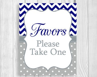 Favors Please Take One Printable 5x7, 8x10 Baby Shower Favor Table Sign - Navy Blue and Gray Chevron and Polka Dots - Instant Download