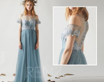 Bridesmaid Dress Dusty Blue Tulle Dress,Illusion Boat Neck Maxi Dress,Lace Applique Off Shoulder A Line Evening Dress Wedding Dress(LS362)