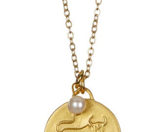 Taurus Zodiac Organic Coin & Freshwater Pearl Necklace