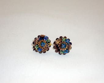 Bronze and Enamel Copper Screw-Back Earrings