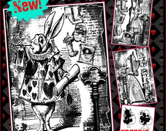 FREEBIE BUNDLE #2 Grunge in Wonderland Series:  Set of 3 Grunge Collage digi art stamps + Grunge Card Suits set FREEBIE!