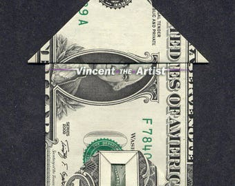 HOUSE w/ Chimney & Front Door Dollar Origami - Made of Real Money