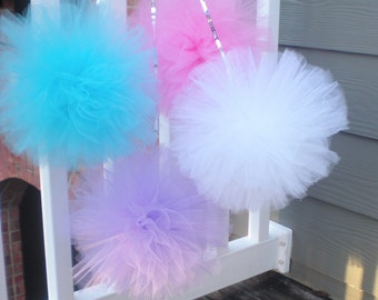 "XL tulle pom poms, sequin string, purple, aqua, pink, white, 12"" pompoms great with Frozen party or Abby Cadaby"