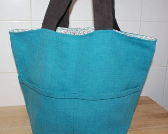 Beautiful Turquoise linen bag.