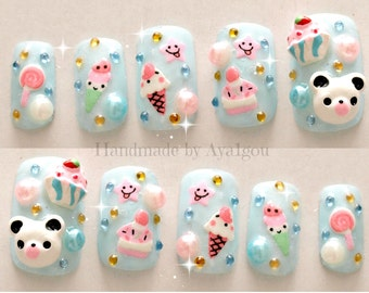 Kawaii nails, kuma, 3D nails, Japanese nail art, summer, pastel,aqua blue, bear, panda, icecream, cake, fairy kei nails