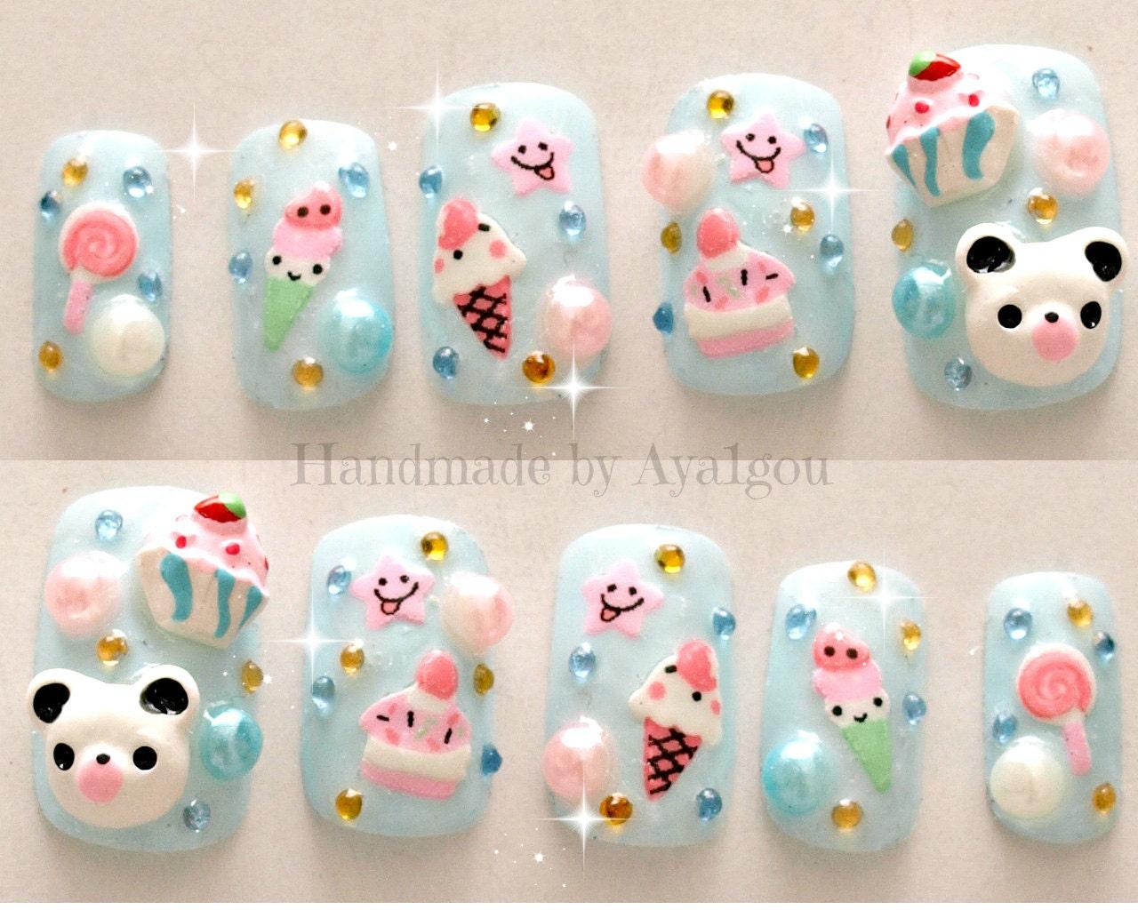 Kawaii nails kuma 3d nails japanese nail art summer zoom prinsesfo Image collections