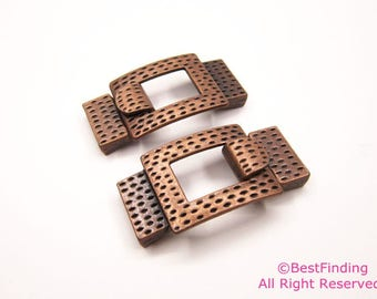 15mm flat leather clasp Dotted 15x2mm hook clasp Antique copper-3sets