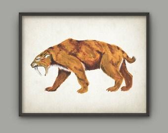 Saber Tooth Tiger Watercolor Wall Art Print, Prehistoric Cat Animal Poster, Boys Room Decor, Ice Age Animal Poster, Extinct Mammal Print