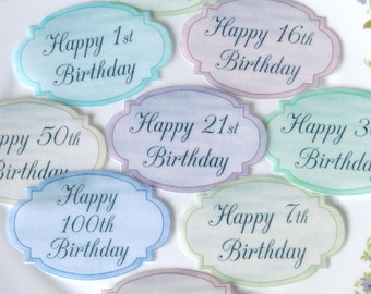 Edible Happy Birthday Pastel Ovals x16 Med Wafer Paper 1st Celebrations Cake Decorations 21st 50th Vintage Party Cupcake Toppers Cookies