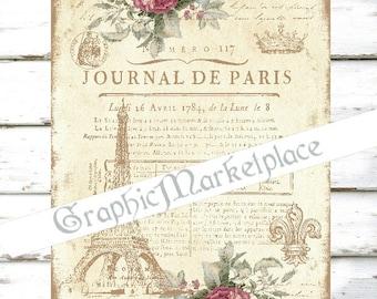 Journal de Paris Shabby Chic Eiffel Tower French Download Transfer Burlap digital collage sheet graphic printable image No. 1589
