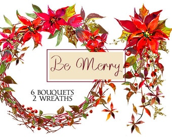 Christmas Watercolor Clipart Poinsettia Red Flowers Bouquets  Digital  Floral Berry Wreaths Wedding Invitation Transparent  Background PNG