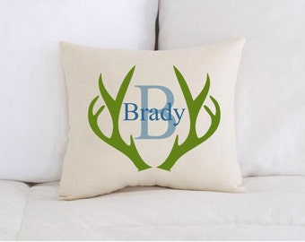 Personalized Baby Pillow, Baby Gift, Birth Announcement, Deer Antlers