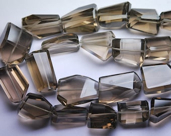 8 Inches Long Strand AAA Smoky Quartz Faceted Step Cut Nuggets-12-16mm