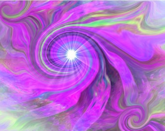 """Abstract Art, Chakra Violet Swirl, Crown Chakra Energy Art, Digital Painting """"Intuition"""""""