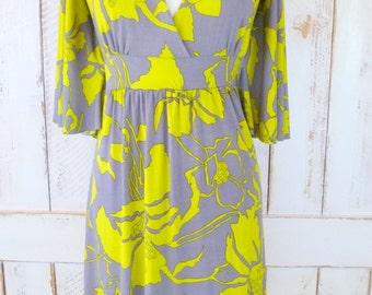 Psychedelic lime green floral 90s flutter sleeve a-line vintage dress