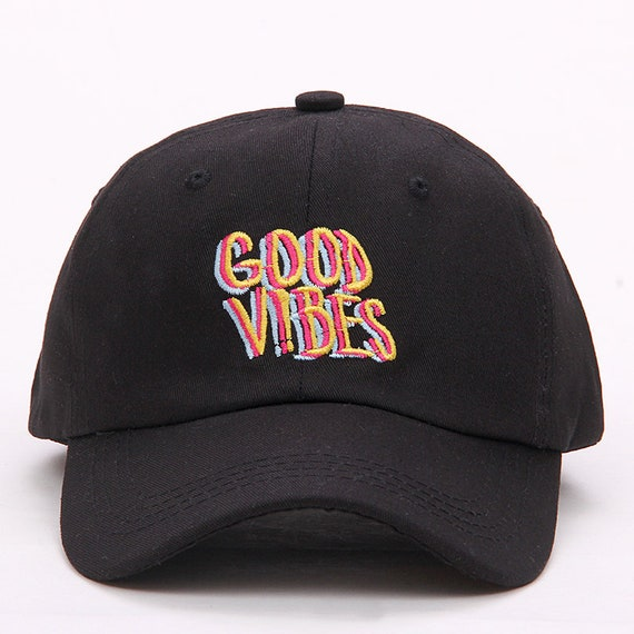 Dad Hat Black   Good Vibes by Etsy