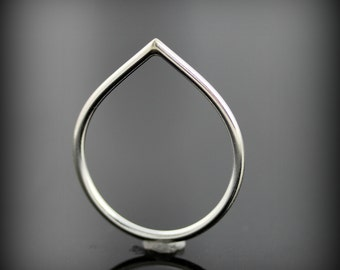 Teardrop ring - recycled sterling silver ring