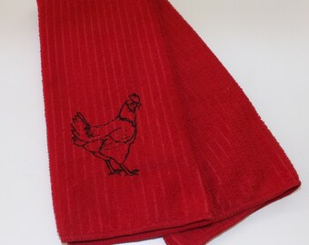 Embroidered Rooster Kitchen Towel - Red or Blue