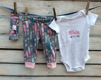 New Baby Outfit, New Baby Girl Outfit, Arrow Baby Outfit, Going Home Baby Outfit, Baby Girl Legging Outfit