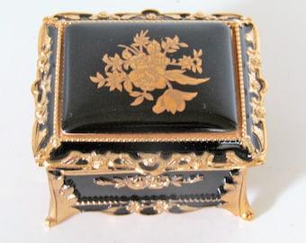 Vintage Ornate Black and Gold Music Box