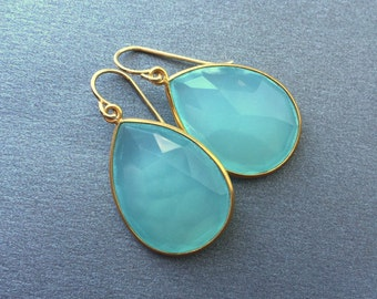 Large Aqua Chalcedony Drop Gold Earring, Teardrop, Large Aqua Mint Chalcedony Earring,