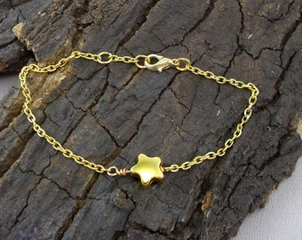 Bracelet star Asterisk Gold plated