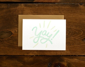 mint & gold yay card