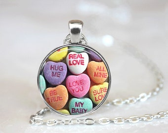 Valentine Necklace Glass Tile Necklace Candy Necklace Valentine Jewelry Brass Jewelry Holiday Jewelry Pink Jewelry