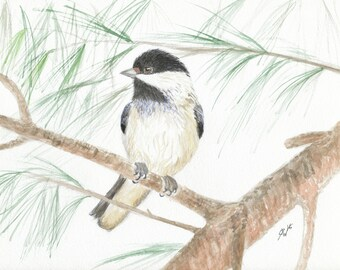 "Chickadee Watercolor Print 5"" x 7"" - Christmas"