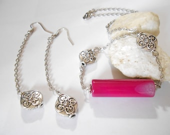Hot pink agate necklace Extra long silver earrings 3-piece Jewelry Set Pink agate Horizontal necklace Long Silver earrings Fuchsia pink