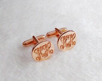 Rose Gold CuffLinks,Personalized Two Initial Cufflinks,Groom Wedding CuffLinks,Engraved Monogram CuffLinks,Elegant Monogrammed Cufflinks