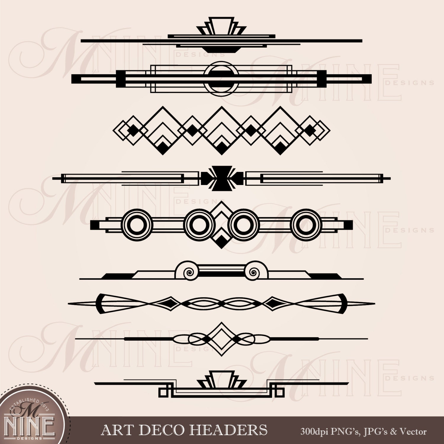 Art Deco Line Design : Art deco header clip accent clipart