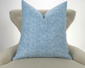Blue Pillow Cover -MANY SIZES- Powder Blue and White, Euro Sham, Decorative Throw, Lumbar Pillow, Cashmere Cameron by Premier Prints