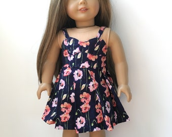 "Floral pleated sweetheart dress for 18"" dolls"