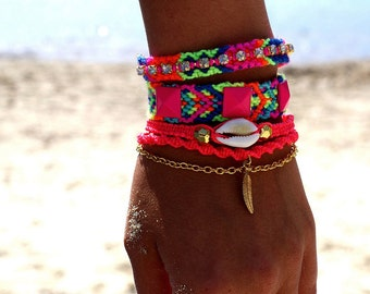 Rhinestone Friendship Bracelet in Hot Neons.