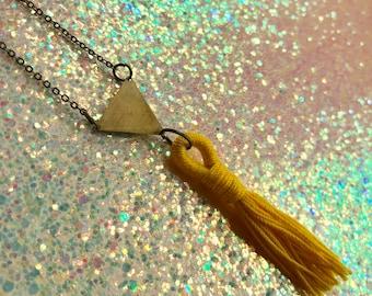 On Sale! Brass Geometric Yellow Tassel Necklace
