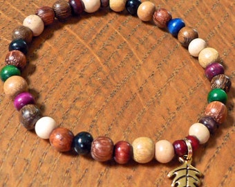 Simple Colorful Wood beads with Gold Oak Leaf Charm Bracelet perfect for Autumn and Fall Accessories