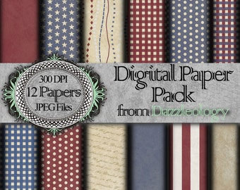 TWO DOLLAR PROMO Old Glory Patriotic Fourth of July Independence Day Digital Paper Instant Download