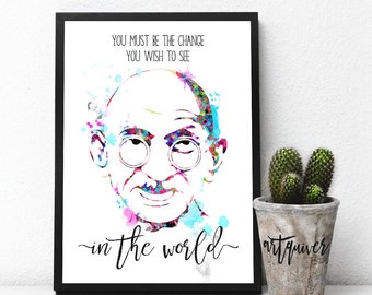Inspirational posters, Gandhi quotes, Gandhi poster, famous quotes about life, motivational posters, Wall Art, Watercolor, artsy quotes