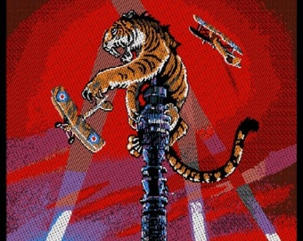 Tygers of Pan Tang 'Crazy Nights' sew on woven  patch. Album cover artwork by Rodney Matthews