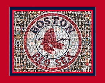 Boston Red Sox Photo Mosaic Print Art of 200 pictures of Past and Present Players. Framed Wall Art.  Free Shipping