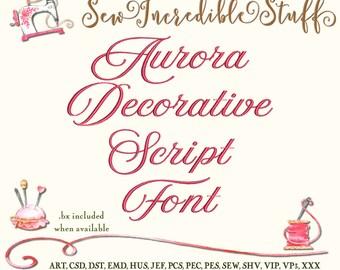 Aurora Decorative Script Machine Embroidery Font