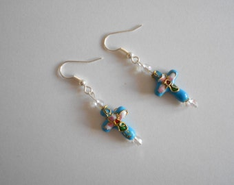 Blue Earrings Cloisonne Earrings Blue Cross Earrings Enamel Beads Clear Czech Beads Dangle Earrings Pierced Earrings Pink Roses
