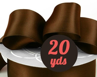 "Satin Chocolate Brown Neutral Ribbon - 7/8"" wide at 20 yards"