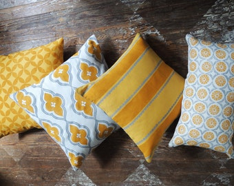 Yellow gray and white hand block printed linen pillow covers geometric colorful decorative home decor