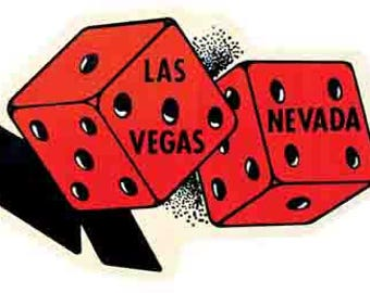 Vintage Style Las Vegas dice casino  Nevada     1950's   Travel Decal sticker