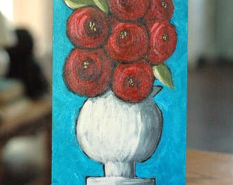 Red Roses, Red Roses - Red Roses in White Ironstone Vase, Original Still Life, Acrylic Painting, Cottage Decor, Whimsical Art