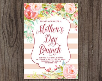 Mother's Day Brunch Invitation, Mothers Day Luncheon Invitation, Mothers Day Invitation, 5x7'' Printable Invitation