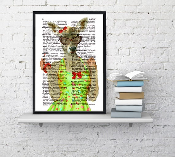 Miss Deer, Deer with red lipstick, Wall art, Wall decor, Digital prints animal, Giclée, Vintage Book sheet, Nursery wall art, Prints  ANI042