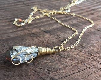 Rough Raw Gold Silver Natural Titanium Aura Quartz Necklace Gold Wire Wrapped Titanium Quartz Crystal Point Charms Pendant Healing Crystal